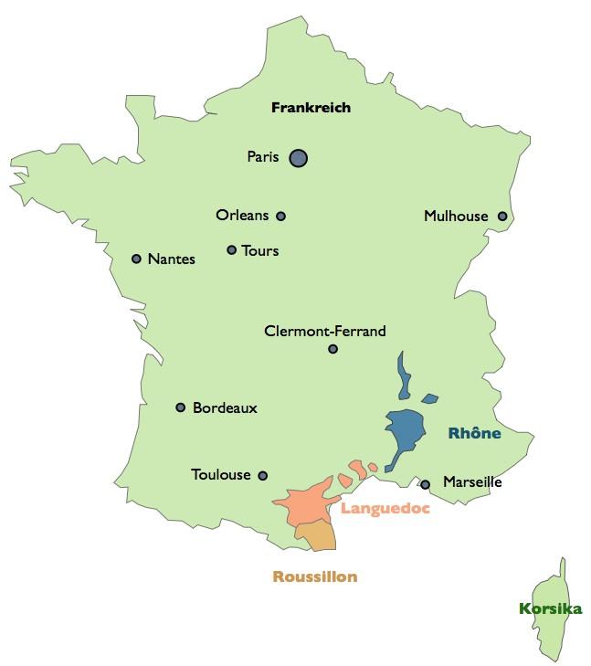 Frankreich Weinbaugebiete Vin Doux Naturel