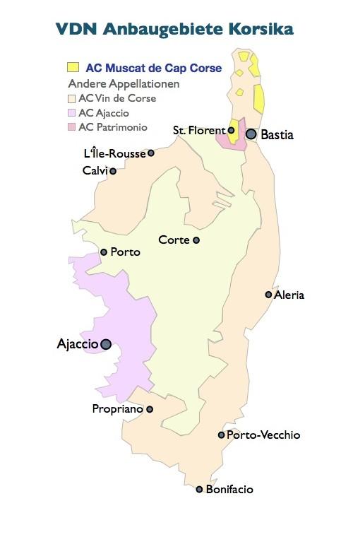 Weinbaugebiete Vin Doux Naturel Korsika