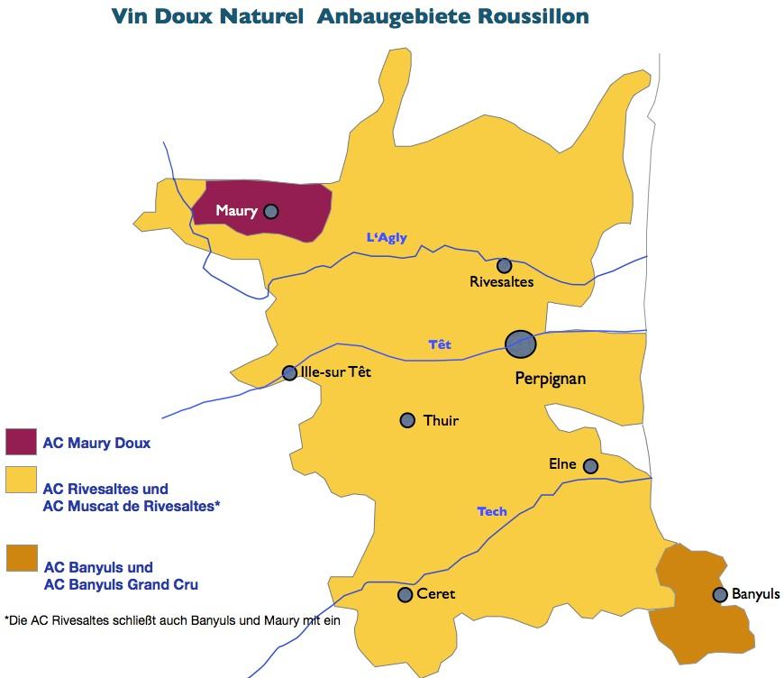 Weinbaugebiete Vin Doux Naturel Roussillon