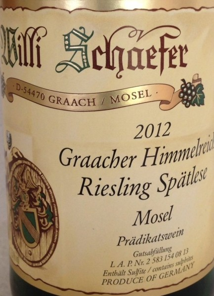 Graacher Himmelreich Riesling Spaetlese 2012 Willi Schaefer