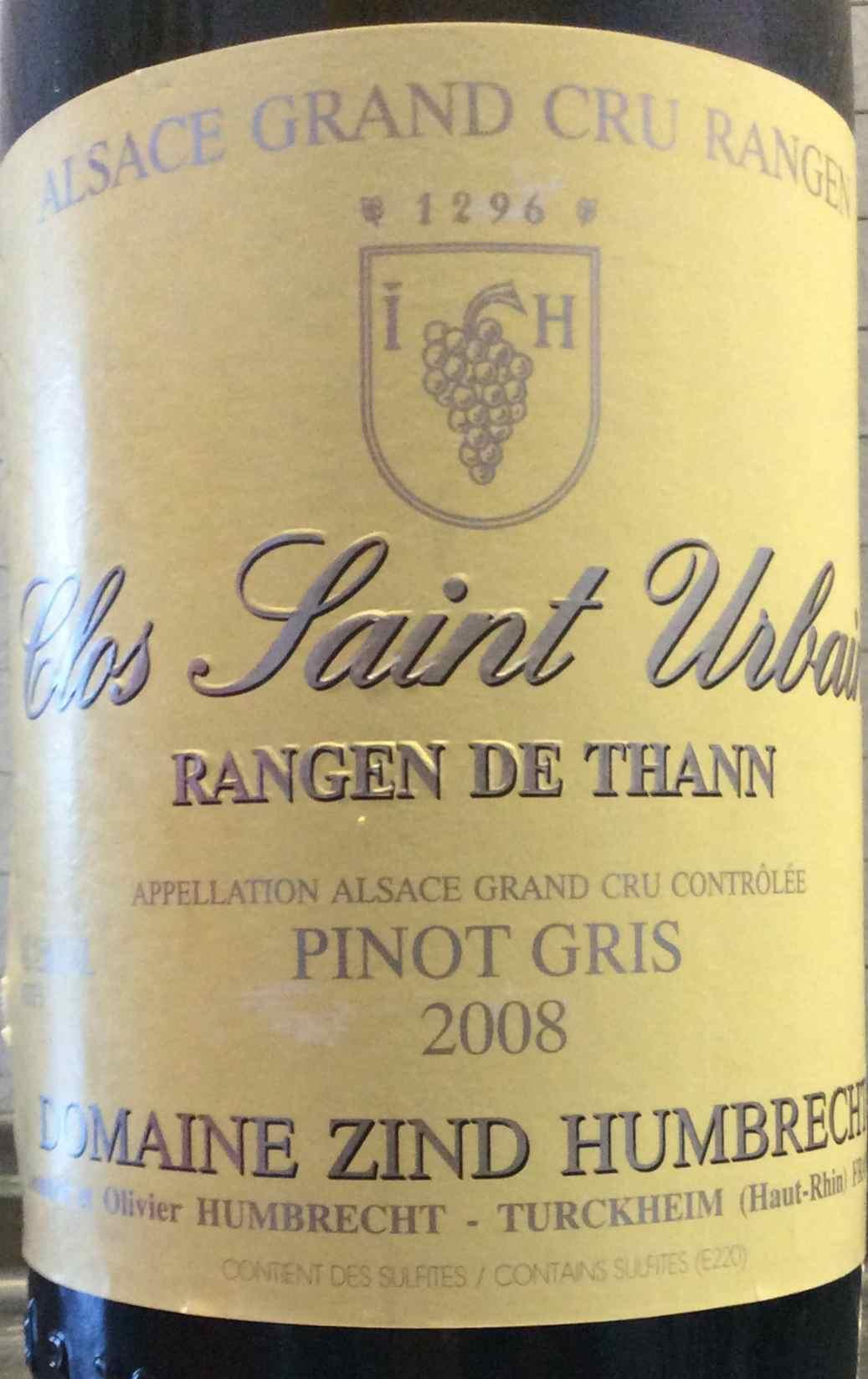 Pinot Gris Clos Saint Urbain Rangen 2008 Zind Humbrecht